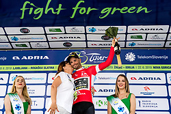 Luka Mezgec (SLO) of Mitchelton - Scott celebrates in red jersey with Mojca Novak, Adria Mobil at trophy ceremony after 3rd Stage of 26th Tour of Slovenia 2019 cycling race between Zalec and Idrija (169,8 km), on June 21, 2019 in Slovenia. Photo by Matic Klansek Velej / Sportida