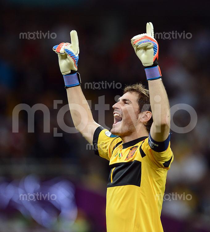 FUSSBALL  EUROPAMEISTERSCHAFT 2012   FINALE Spanien - Italien            01.07.2012 Torwart Iker Casillas (Spanien) jubelt nach dem 3:0