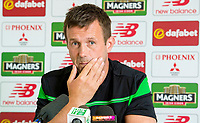 24/06/15<br /> LENNOXTOWN<br /> Celtic manager Ronny Deila speaks to the press about his side's upcoming pre-season matches at St. Mirren Park.