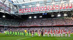 04-08-2015 NED: UEFA CL qualifying AFC Ajax - Rapid Wien, Amsterdam<br /> Ajax is al in de derde voorronde van de Champions League uitgeschakeld. Rapid Wien bleek een niet te nemen horde. Na de 2-2 in Wenen waren de Oostenrijkers in de Arena met 3-2 te sterk / Line up Ajax en Rapid Wien