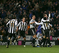 Photo: Andrew Unwin.<br />Newcastle United v Everton. The Barclays Premiership. 25/02/2006.<br />Newcastle's Nolberto Solano (#4) is mobbed by his team-mates after scoring his second goal.