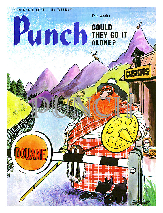 "Punch Front Cover - ""Could They Go It Alone"" - April 3rd 1974 - a Scottish Mr Punch with Toby the dog as a Highland Terrier, guarding the border of Scotland"