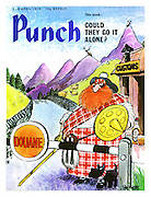 """Punch Front Cover - """"Could They Go It Alone"""" - April 3rd 1974 - a Scottish Mr Punch with Toby the dog as a Highland Terrier, guarding the border of Scotland"""