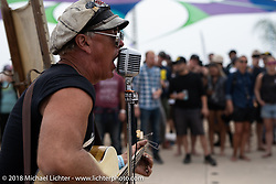 Brian Bent performed with his daughter Esther on drums as the Bent Duo at the RSD Moto Beach Classic. Huntington Beach, CA, USA. Saturday October 27, 2018. Photography ©2018 Michael Lichter.