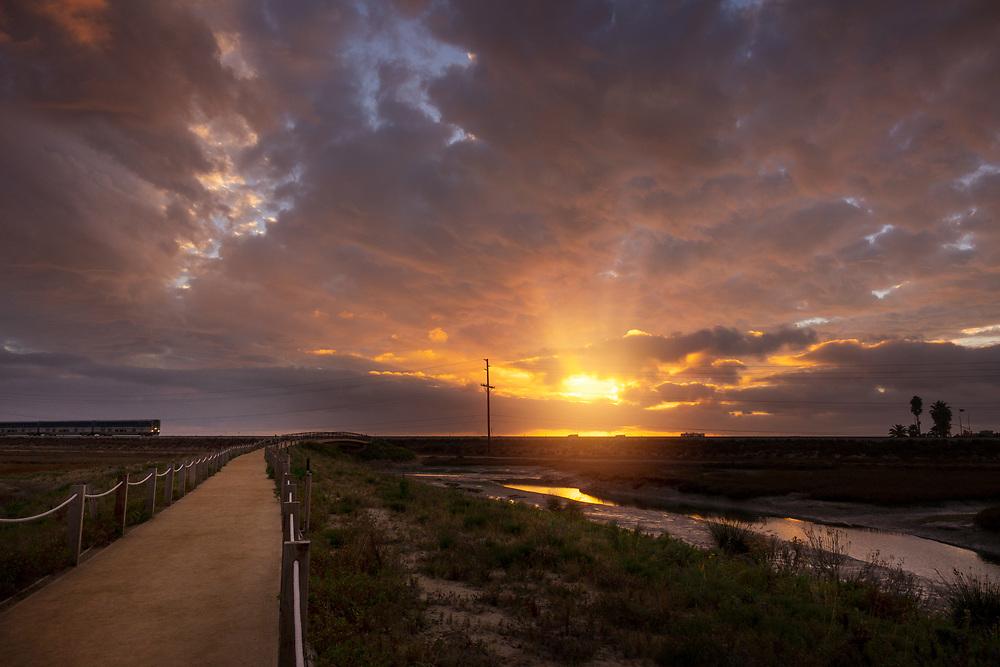 Train at sunset at sunset in San Elijo Lagoon in San Diego, California. ©justinalexanderbartels.com