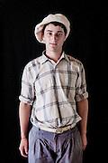 Javier Calvelo/ URUGUAY/ MONTEVIDEO/ FOTOGRAFIA/ Expoprado - Exposicion Rural del Prado de Montevideo/ Proyecto documental sobre la identidad, lo nacional, lo Uruguayo. Se trata de retratos simples mirando a camara y con un fondo neutro. Les pregunto a los fotografiados como quieren ser recordados en el futuro y de que localidad del Uruguay son.<br /> El titulo esta basado en la obra de Raymond Firth, Tipos Humanos. (Raymond William Firth, ( 1901-2002) fue un etnólogo neozelandés profesor de Antropología en la London School of Economics, es uno de los fundadores de la antropología económica británica). <br /> En la foto:  Tipos Humanos en Expoprado, Sebastian Gomez, Minas. Foto: Javier Calvelo <br /> sebagomez06@hotmail.com<br /> 2013-09-06 dia viernes