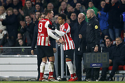 (L-R), Phillip Cocu of PSV, Luuk de Jong of PSV, Donyell Malen of PSV during the Dutch Eredivisie match between PSV Eindhoven and PEC Zwolle at the Phillips stadium on February 03, 2018 in Eindhoven, The Netherlands