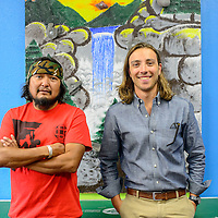 Ben Soce, left and Lane Towery pose for a portrait at the National Indian youth Leadership Project headquarters in Gallup Tuesday.