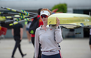 Plovdiv, Bulgaria, 9th May 2019, FISA, Rowing World Cup 1,  W2-, USA, USA1,(b) Erin REELICK, carrying boat.<br /> [© Peter SPURRIER]