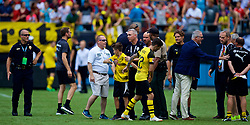 CHARLOTTE, USA - Sunday, July 22, 2018: Borussia Dortmund staff remonstrate with an overly aggressive rotund steward who violently restrains a young supporter after a preseason International Champions Cup match between Borussia Dortmund and Liverpool FC at the  Bank of America Stadium. (Pic by David Rawcliffe/Propaganda)