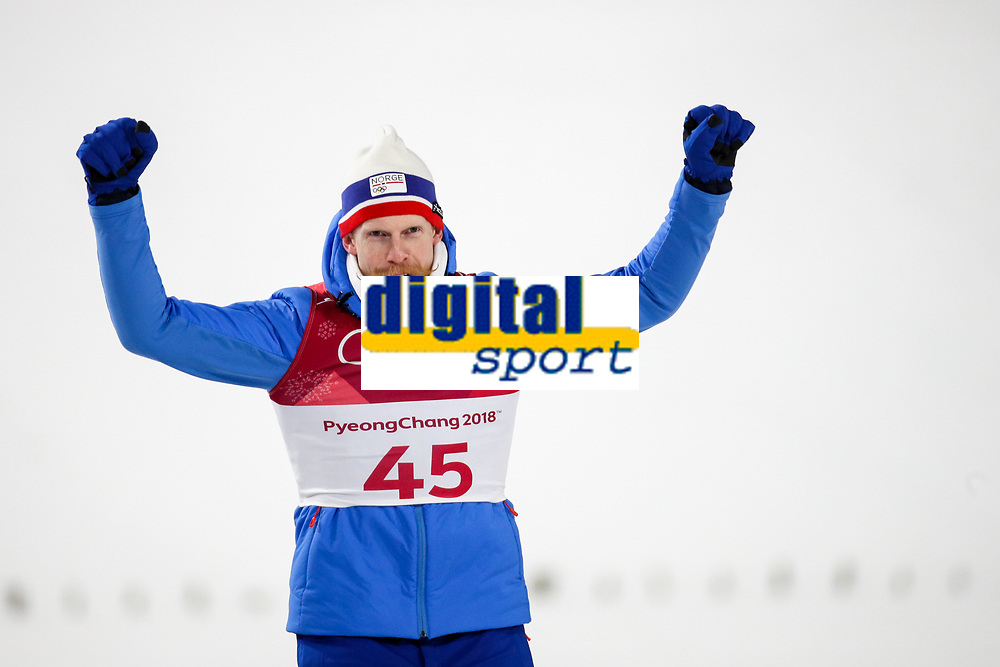 PYEONGCHANG,SOUTH KOREA.10.FEB.18 - OLYMPICS, NORDIC SKIING, SKI JUMPING - Olympic Winter Games PyeongChang 2018, normal hill, flower ceremony. Image shows the rejoicing of Robert Johansson (NOR).<br /> <br /> Norway only