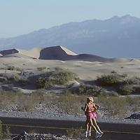 Twin sisters run by Death Valley Dunes. Angelika Casteneda and Barbara Alvarez.