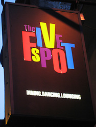 Nightlife spot sign Five Spot..Philadelphia, Pennsylvania, PA USA.  Photo copyright Lee Foster, 510-549-2202, lee@fostertravel.com, www.fostertravel.com.  Photo 343-50044