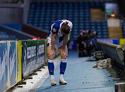 BLACKBURN, ENGLAND - Saturday, January 16, 2021: Blackburn Rovers' Sam Gallagher after crashing over the advertising hoardings during the Football League Championship match between Blackburn Rovers FC and Stoke City FC at Ewood Park. The game ended in a 1-1 draw. (Pic by David Rawcliffe/Propaganda)