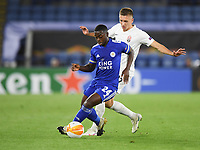 Football - 2020 / 2021 Europa League - Group F - Leicester City vs Zorya Luhansk - King Power Stadium<br /> <br /> Leicester City's Nampalys Mendy holds off the challenge from Zorya Luhansk's Yegor Nazaryna.<br /> <br /> COLORSPORT/ASHLEY WESTERN