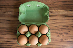 High angle view of eggs tray on table, Munich, Bavaria, Germany