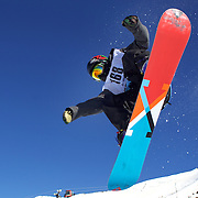 Eiju Hirano, Japan, in action during the Men's Halfpipe competition at the Burton New Zealand Open 2011 held at Cardrona Alpine Resort, Wanaka, New Zealand, 10th August 2011. Photo Tim Clayton