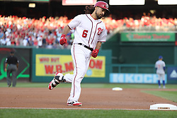 October 7, 2017 - Washington, DC, USA - The Washington Nationals' Anthony Rendon (6) hits a home run in the first inning against the Chicago Cubs during Game 2 of the National League Division Series at Nationals Park in Washington, D.C., on Saturday, Oct. 7, 2017. (Credit Image: © Chris Sweda/TNS via ZUMA Wire)
