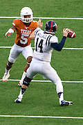 AUSTIN, TX - SEPTEMBER 14: Bo Wallace #14 of the Mississippi Rebels throws a pass past Josh Turner #5 of the Texas Longhorns on September 14, 2013 at Darrell K Royal-Texas Memorial Stadium in Austin, Texas.  (Photo by Cooper Neill/Getty Images) *** Local Caption *** Bo Wallace; Josh Turner