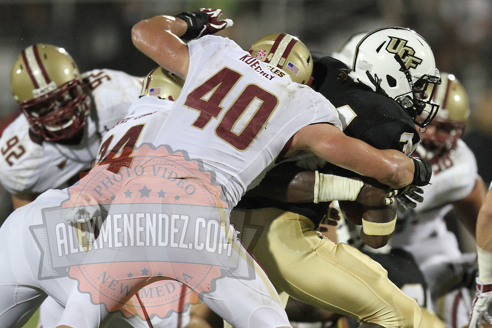 Boston College linebacker Luke Kuechly (40) during an NCAA football game between the Boston College Eagles and the UCF Knights at Bright House Networks Stadium on Saturday, September 10, 2011 in Orlando, Florida. (AP Photo/Alex Menendez)