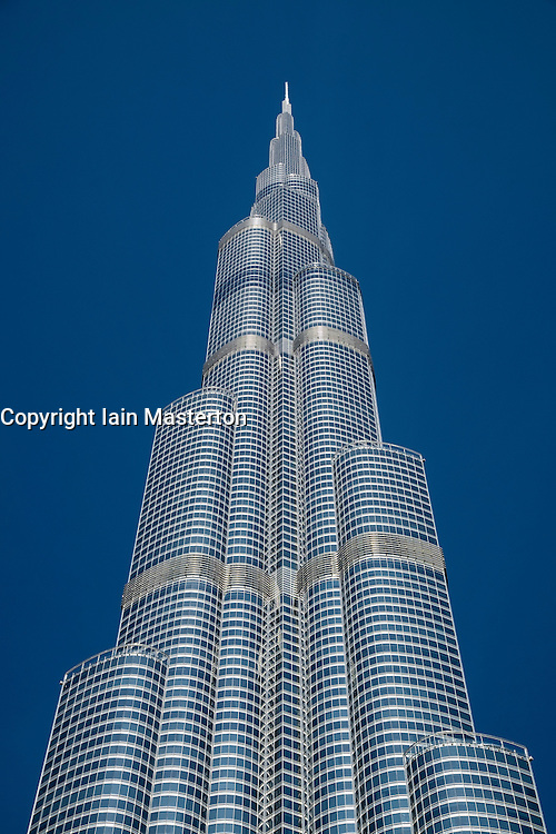 Detail view of Burj Khalifa skyscraper , world's tallest building in Dubai United Arab Emirates