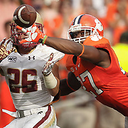 Clemson Tigers player Robert Smith breaks up a pass intended for Boston College's David Dudeck during an ACC college football game in Clemson. ©Travis Bell Photography