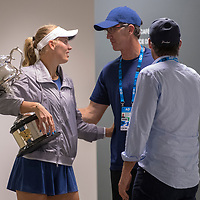 Caroline Wozniacki of Denmark after winning the women's singles championship match during the 2018 Australian Open on day 13 in Melbourne, Australia on Saturday night January 27, 2018.<br /> (Ben Solomon/Tennis Australia)