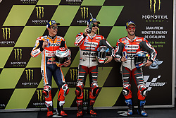 June 16, 2018 - Barcelona, Catalonia, Spain - Marc Marquez (93) of Spain and Repsol Honda Team, Jorge Lorenzo (99) of Spain and Ducati Team and Andrea Dovizioso (4) of Italy and Ducati Team during the qualifying of the Gran Premi Monster Energy de Catalunya, Circuit of Catalunya, Montmelo, Spain.On 16 june of 2018. (Credit Image: © Jose Breton/NurPhoto via ZUMA Press)