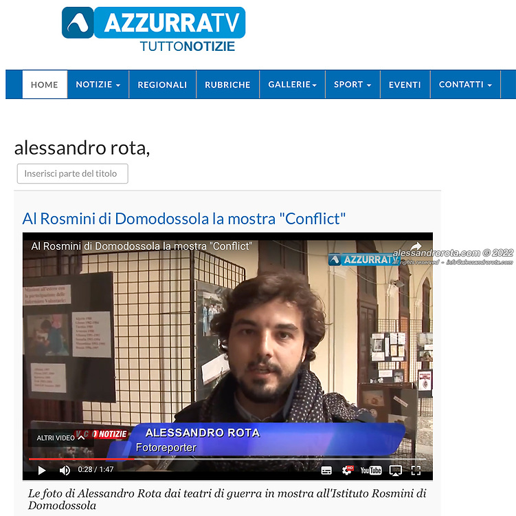 Interview @ Azzurra TV about the Exhibition with Croce Rossa Italiana for the International Committee of the Red Cross day - 8th May 2017