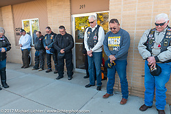 Mayor Scott Hanlon says a prayer during a stop in Groton, SD for a flag raising ceremony during the USS South Dakota submarine flag relay across South Dakota. USA. Sunday October 8, 2017. Photography ©2017 Michael Lichter.