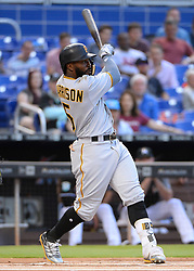 April 18, 2018 - Miami, FL, U.S. - MIAMI, FL - APRIL 13: Pittsburgh Pirates second baseman Josh Harrison (5) f;u ball to center field for an out during the first inning of the Major League Baseball game between the Miami Marlins and the Pittsburgh Pirates on April 13, 2018  at Marlins Park in Miami, FL  (Photo by Juan Salas/Icon Sportswire) (Credit Image: © Juan Salas/Icon SMI via ZUMA Press)