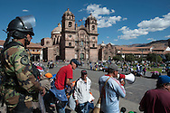 The Plaza de Armas of Cusco is also a place of union and political events, Cusco is not only an arena for tourists.