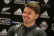 Beauden Barrett , the New Zealand Allblacks rugby player speaks to the media during  the New Zealand rugby team announcement press conference at the Hilton Hotel in Cardiff , South Wales on Thursday 23rd November 2017.  the team are preparing for their Autumn International series test match against Wales in Cardiff this weekend.   pic by Andrew Orchard