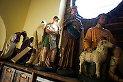 Nativity figures in storage before Christmas in upstairs room at St. Lawrence's Catholic church in Feltham, London.