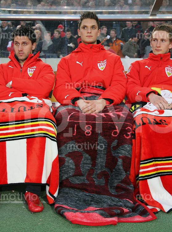 Fussball  1. Bundesliga  Saison 2007/2008   16.04.2008  29.Spieltag VfB Stuttgart  - 1. FC Nuernberg Stuttgarter Ersatzbank, Ciprian Marica, Sven Ulreich  und Manuel Fischer (v.li)