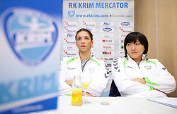 Andrea Penezic and Ljudmila Bodnjeva during press conference of handball team RK Krim Mercator before new season 2010-2011, on September 29, 2010 in M-Hotel, Ljubljana, Slovenia. (Photo By Vid Ponikvar / Sportida.com)