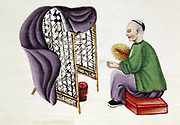 Man drying silkworm cocoons over a charcoal pan surrounded by bamboo screen and using blanket and fan to regulate draught. Chinese tempera painting on rice paper (19th century)