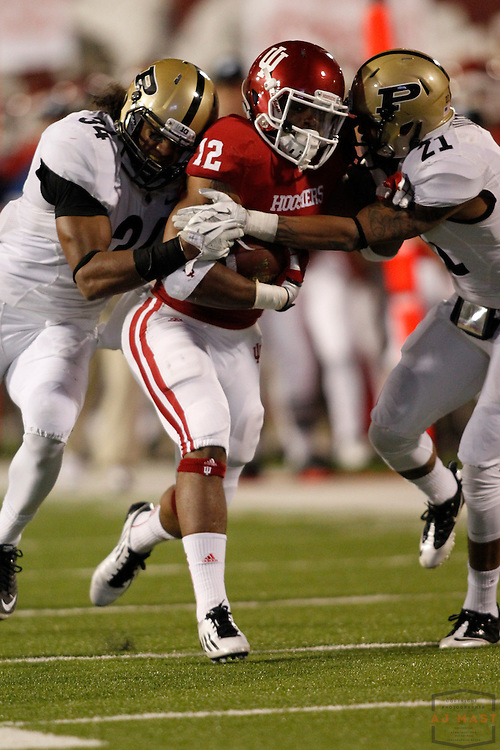 26 November 2011: Indiana Hoosiers running back Stephen Houston (12) as the Purdue Boilermakers played the Indiana Hoosiers in a college football game in Bloomington, Ind.