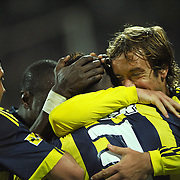 Fenerbahce's Joseph Michael YOBO (C) celebrate his goal with team mate during their Turkish soccer super league match Sivasspor between Fenerbahce at 4 Eylul Stadium in Sivas Turkey on  Sunday, 22 May 2011. Photo by TURKPIX