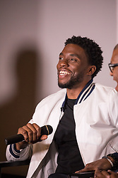 """(L-R); Moderator Roland Martin, host of TV One's """"News One Now"""", lead actor Chadwick Boseman, and Director Reginald Hudlin, participate in a Q&A after the advance screening of the movie """"Marshall"""",  a biography about a young Thurgood Marshall, the first African-American Supreme Court Justice. Previewed on day four of the NAACP's 108th Annual Convention, at the Landmark Theater, in Baltimore, MD. on July 25, 2017. (Photo by Cheriss May) *** Please Use Credit from Credit Field ***"""
