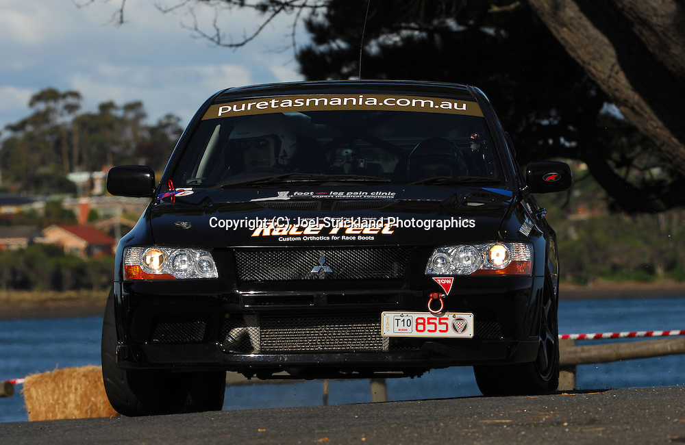 #855 - Paul Dowie & Nicole Bryan - 2001 Mitsubishi Lancer Evolution VII.Prologue.George Town.Targa Tasmania 2010.27th of April 2010.(C) Joel Strickland Photographics.Use information: This image is intended for Editorial use only (e.g. news or commentary, print or electronic). Any commercial or promotional use requires additional clearance.