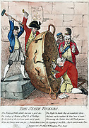 The State Tinkers', James Gillray 1780.  Lord North, British Prime Minister, kneels, Lord Sandwich and assistant patch up the kettle of state. George III looks on, hands raised. North forced out of office on motion of confidence, 1782.