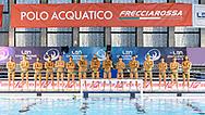 Venues Sponsor<br /> Pro Recco Team<br /> Polo Acquatico Freccia Rossa<br /> - (white cap) vs  -(blue cap)<br /> LEN Champions League Ostia<br /> Polo Natatorio Freccia Rossa <br /> Ostia, Italy ITA <br /> Photo © G. Scala/Deepbluemedia