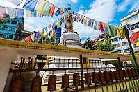 Stupa and prayer flags, Naghal district, Kathmandu, Nepal.