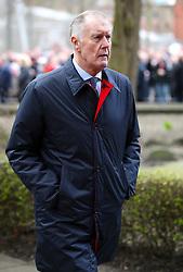 Retired footballer Sir Geoff Hurst arrives at the funeral service for Gordon Banks at Stoke Minster.