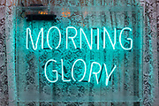 A neon sign forming the letters spelling the word Morning Glory outside a cafe in Soho, on 15th January 2020, in London, England.