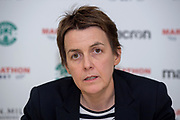 Chief Executive of Hibernian FC, Leeann Dempster, speaks to the media during the press conference for Hibernian FC at Hibernian Training Centre, Ormiston, Scotland on 15 February 2019.