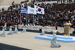 ATHENS, Oct 31, 2017  Greek actresses playing the role of ancient Greek priestesses and dancers perform during the handover ceremony of the Olympic Flame at Panathenaic stadium in Athens on Oct. 31, 2017,The Flame burning for the 2018 PyeongChang Winter Olympics was handed over on Oct. 31 to the South Korean organizers in a touching ceremony. (Credit Image: © Marios Lolos/Xinhua via ZUMA Wire)