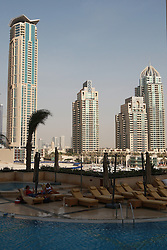 General views of Tower Blocks and Boats in Dubai Marina,November 2008, Dubai. Photo by Andrew Parsons / i-Images