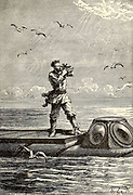 Captain Nemo takes the altitude of the sun From the Book Twenty thousand leagues under the seas, or, The marvelous and exciting adventures of Pierre Aronnax, Conseil his servant, and Ned Land, a Canadian harpooner by Verne, Jules, 1828-1905 Published in Boston by J.R. Osgood in 1875